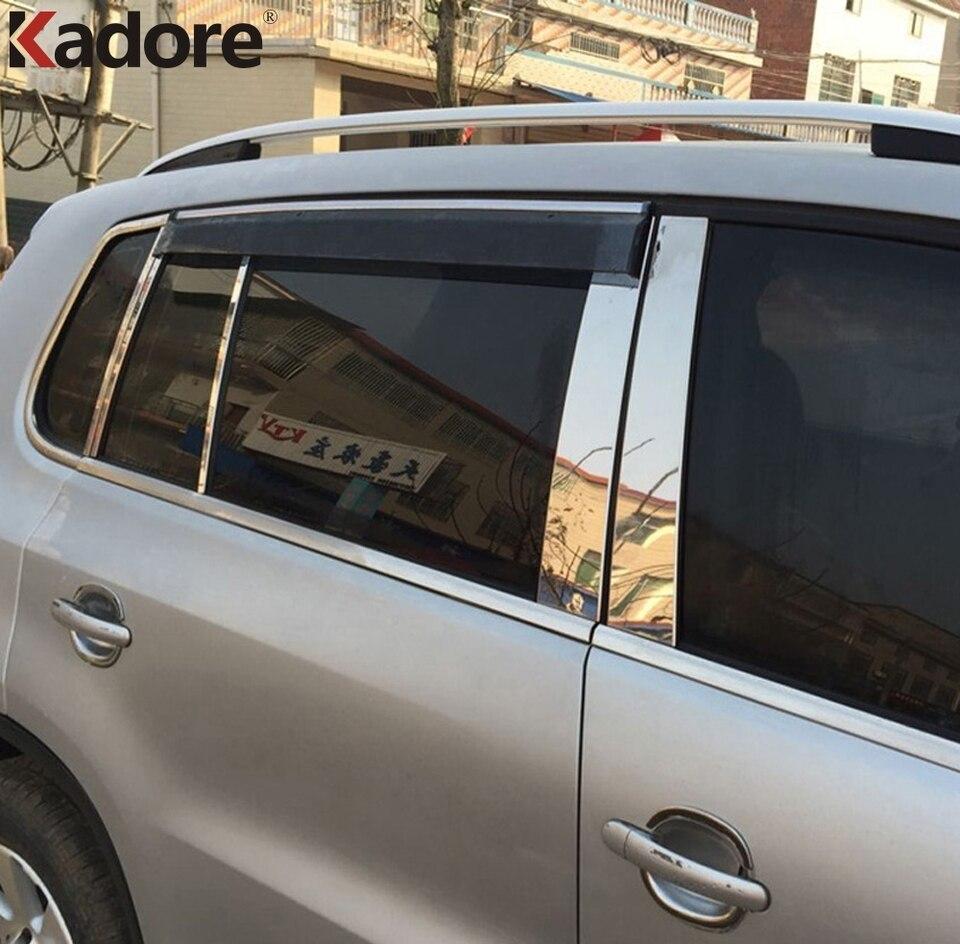 Fits VW Tiguan 2009-2013 Real Carbon Fiber Black Window Pillar Posts 4PCS