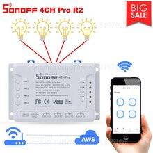 Itead sonoff 4ch pro r2/r3 wifi 4 gang 433mhz rf interruptor de travamento automático de bloqueio inteligente interruptor de trabalho através de ewelink alexa ifttt