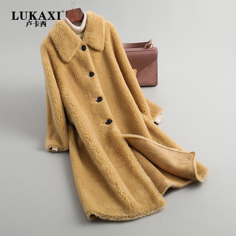 Natural Real Fur Coat Women Winter Sheep Shearing Jacket Korean Fashion Ladies Clothes 2020 Thick Warm Long Coats YT002