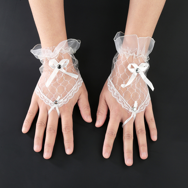 Trendy White Black Red Color Bride Party Gloves Fingerless Sexy Lace Short Bow Gloves for Women party 3