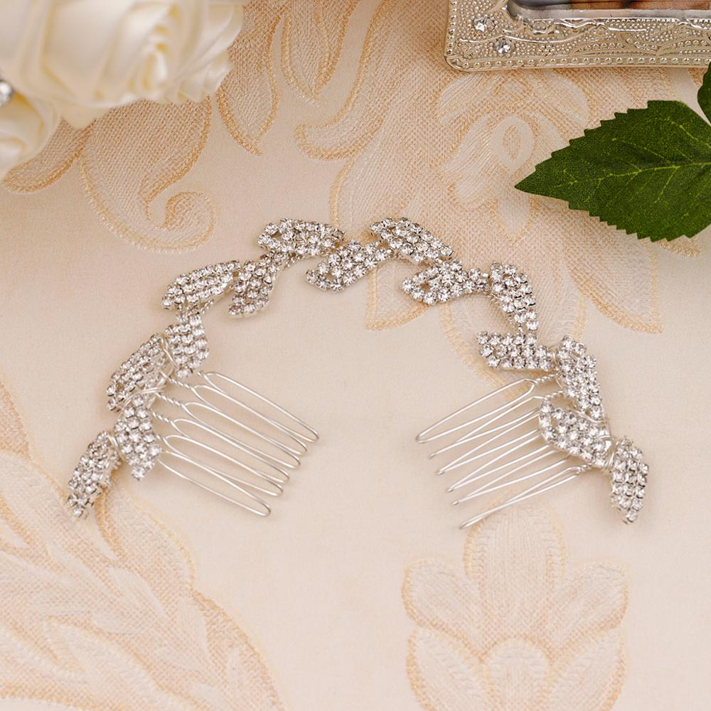 Wedding  Rhinestone Headband Bridal Chain Bride Comb Bridesmaid Headpiece Golden Hair Jewelry Accessories Boho Chic 15CMTS946