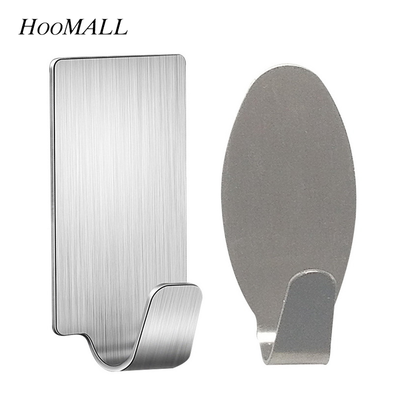 6PCs Self Adhesive Kitchen Wall Door Hook Stainless Steel Holder Hanger  For Bathroom Door Wall Kitchen Tools