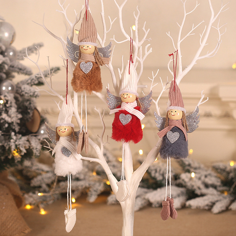 NEWChristmas Plush Cute Angel Doll Pendants Tree Hanging Ornaments Gift Toys Christmas Decorations For Home Baby Girl Room Decor