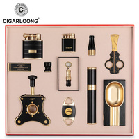 Luxury Cigar Set Ashtray Lighter Cigar Tube Cigar Drill Cigar Cutter Cigarette Holder 10 Sets of Smoking Accessories Set CQ 9999