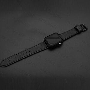 Image 2 - 40 مللي متر 44 مللي متر حزام أسود ل أبل سلسلة ساعة 5 حزام الساعات سوار جلد طبيعي واحد جولة مزدوجة العصابات ل iWatch سلسلة 3 2