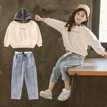 Детская одежда толстовка с капюшоном и джинсы комплект одежды