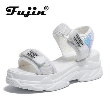 Fujin sandały z wysokimi obcasami damskie letnie 2020 damskie buty z grubą podeszwą klina z wystającym palcem platformy letnie damskie sandały tanie i dobre opinie Cotton Fabric Podstawowe Mieszkanie z Otwarta RUBBER Wysoka (5 cm-8 cm) 3-5 cm Na co dzień Hook loop Pasuje mniejszy niż zwykle proszę sprawdzić ten sklep jest dobór informacji