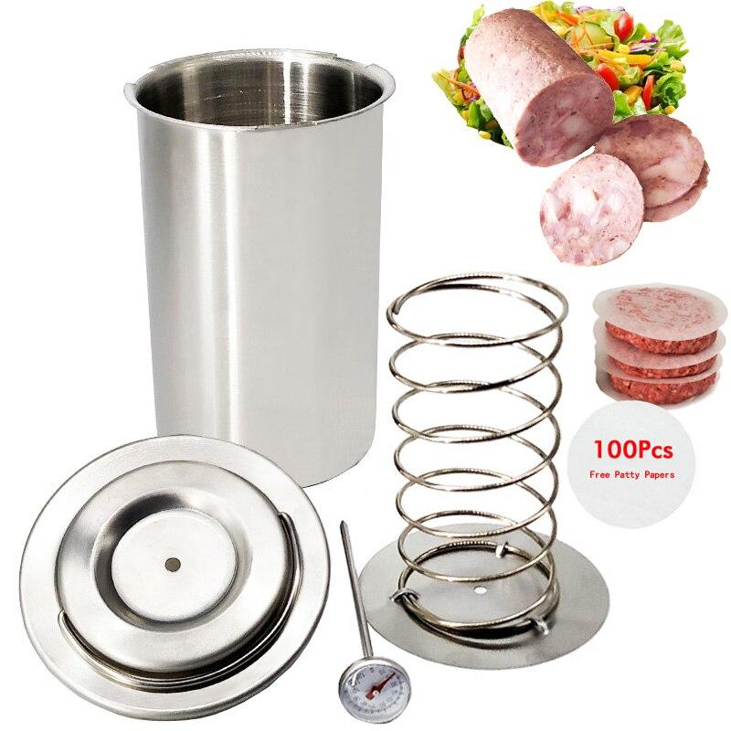 304 нержавеющая сталь пресс для ветчины машина гамбургер для мяса птицы приготовленные инструменты с 100 шт пирожные бумаги термометр