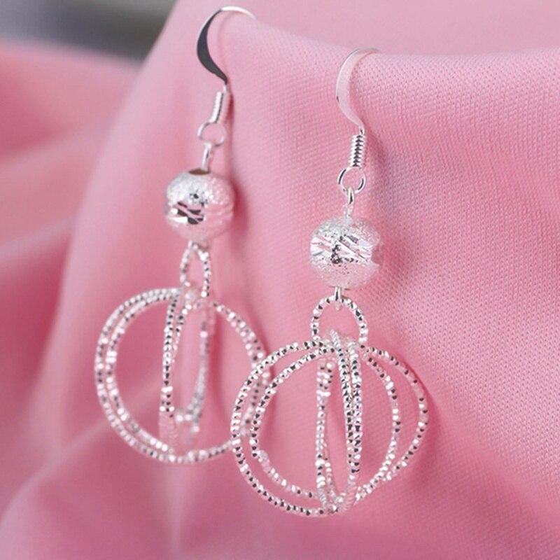 Fashion Silver Ear Creole Round Stud Earring Classic Silver Plated Women Girl DE
