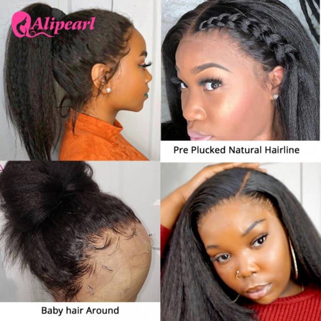 AliPearl Hair Kinky Straight Wigs Yaki Lace Front Human Hair Wigs 130% 150% 180% Density Pre Plucked Brazilian Remy Lace Wigs