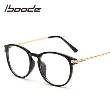 Iboode Retro gafas de sol de Marco grande para mujer Vintage monturas de gafas redondas para hombres gafas con lentes transparentes de gran tamaño leopardo negro Floral