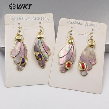 WT-MPE023 Bohe style earring natural shell earring wing earring rainbow color shell with CZ paved woman fashion earring jewelry фото