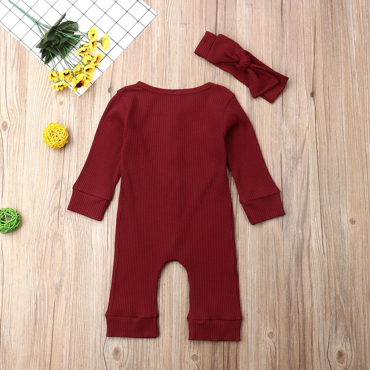 He5f158170ed249c0b0c851cb93ba74ddZ Spring Fall Newborn Baby Girl Boy Clothes Long Sleeve Knitted Romper + Headband Jumpsuit 2PCS Outfit 0-24M