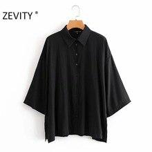 ZEVITY femmes élégant col rabattu décontracté lâche noir blouse Chemisier femmes batwing manches femininas kimono blusas LS7235