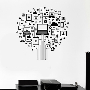 Computer Tree Wall Decal Inter