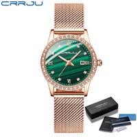 2021 neue Frauen CRRJU Mode Luxus Diamant Uhren Damen Kleid Einfache Mesh Armband Wasserdicht Quarz Uhren Zegarek Damski
