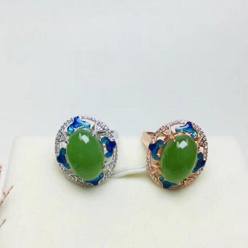 S925 en argent Sterling Style chinois Hetian vert Jade anneaux conception creuse pour les femmes Jasper luxe cadeau de noël bijoux
