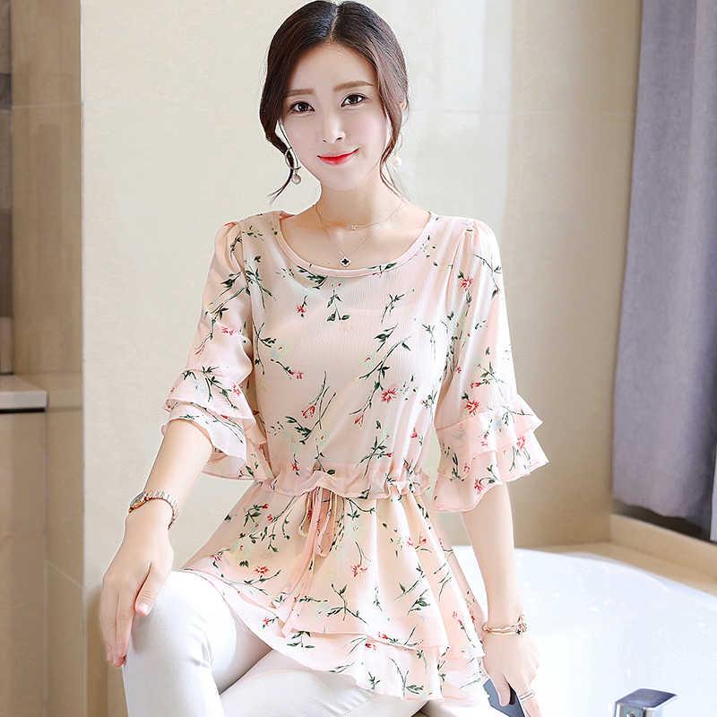 Женская мода 2019, летние блузки с цветочным принтом Женские топы и блузки, шифоновая блузка с оборками,  рубашки с цветочным принтом, Blusa Feminina 932A
