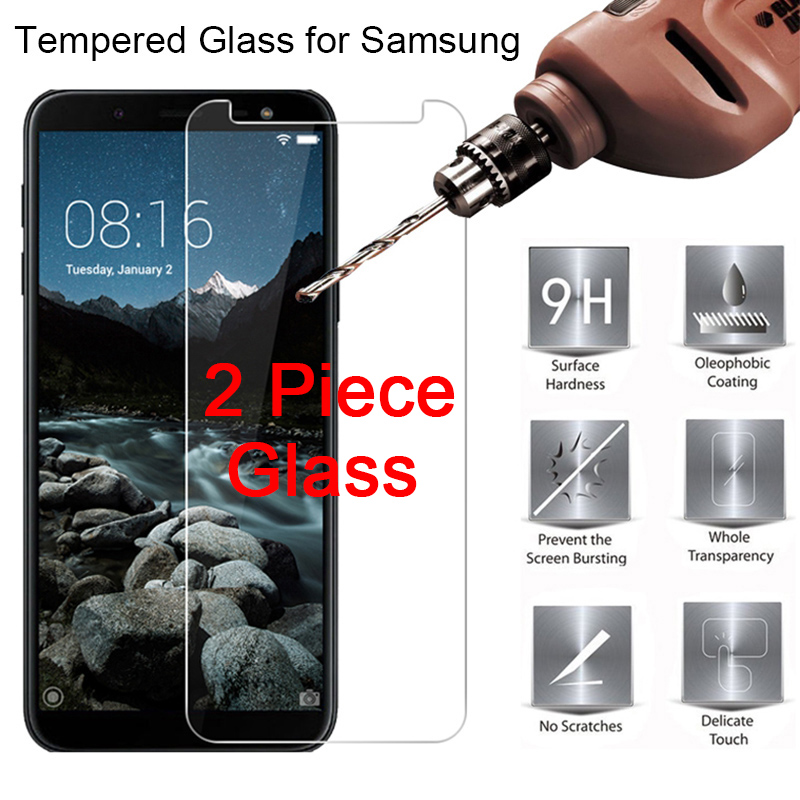 2PCS Tempered Glass For Samsung A7 2018 A750 A6 A8 Plus Phone Film Toughed Protective Phone Film For Galaxy A9 Star Lite Pro