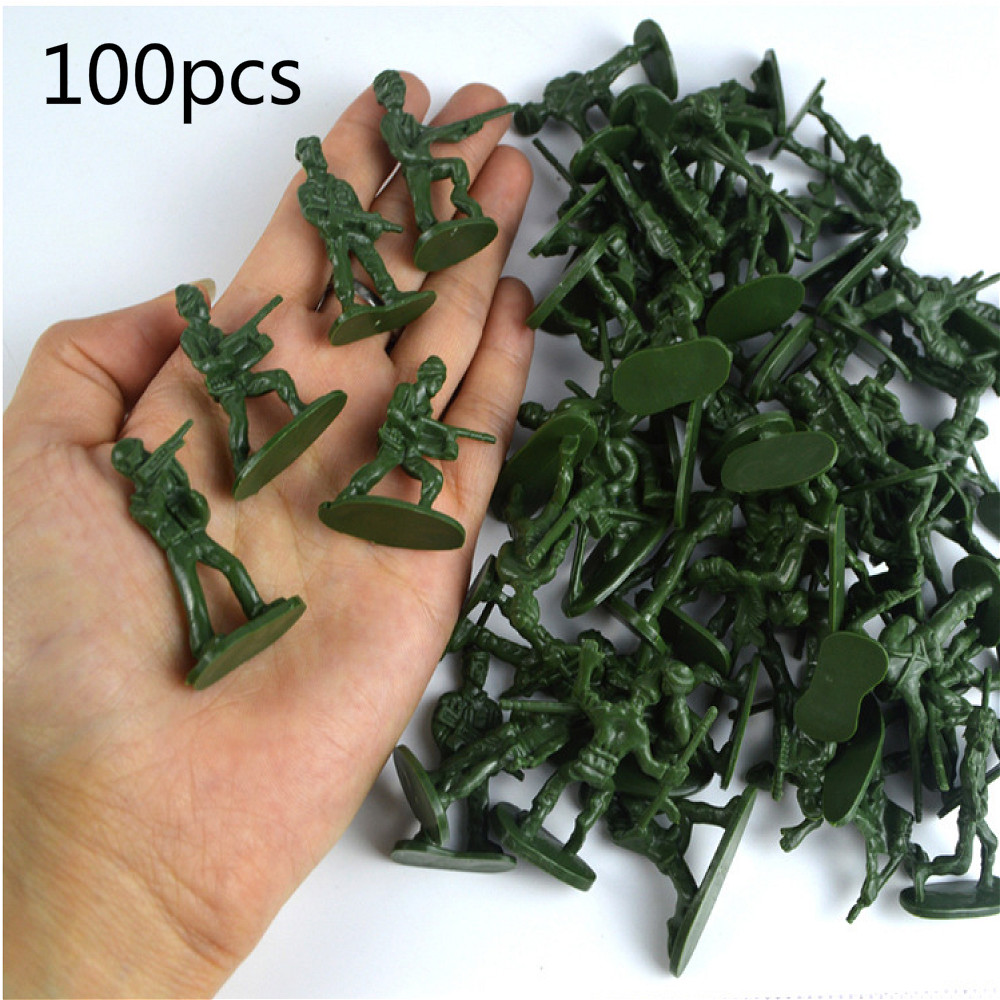 Soldier Toy Soldier Green War Corps Model Child Diorama Sand Table Making Construction Train 100pcs Doll ABS Mini Scene