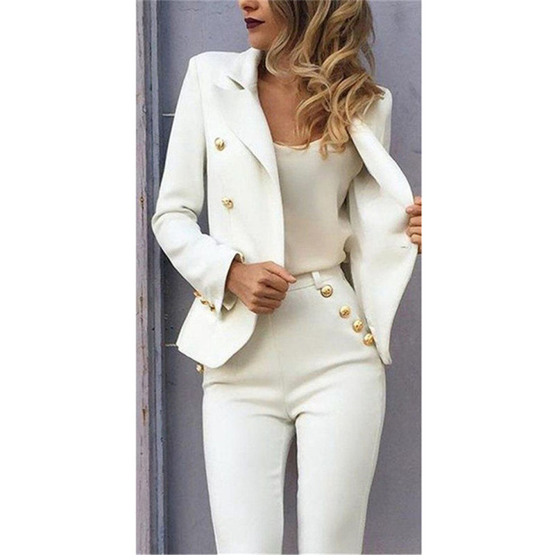 Lady Women Suits Set 2019 Spring and Autumn White Peak Lapel Slim Professional 2 Piece Set Suit Women's Pantsuit Customi Made