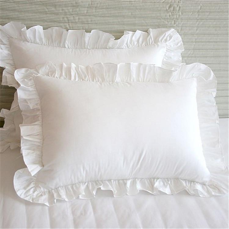1pcs Rectangle Pillow Cover Lace Ruffle Girls Pillow case Solid Color Standard Princess Pillowcases Bedding Home Textile 48x74cm