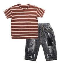 2019 New Summer Boys Tracksuit Striped T Shirt + Denim Shorts Clothes 2pcs Boy's Set Children Kids Hole Jeans Clothing shorts jeans lady m kids clothes children clothing