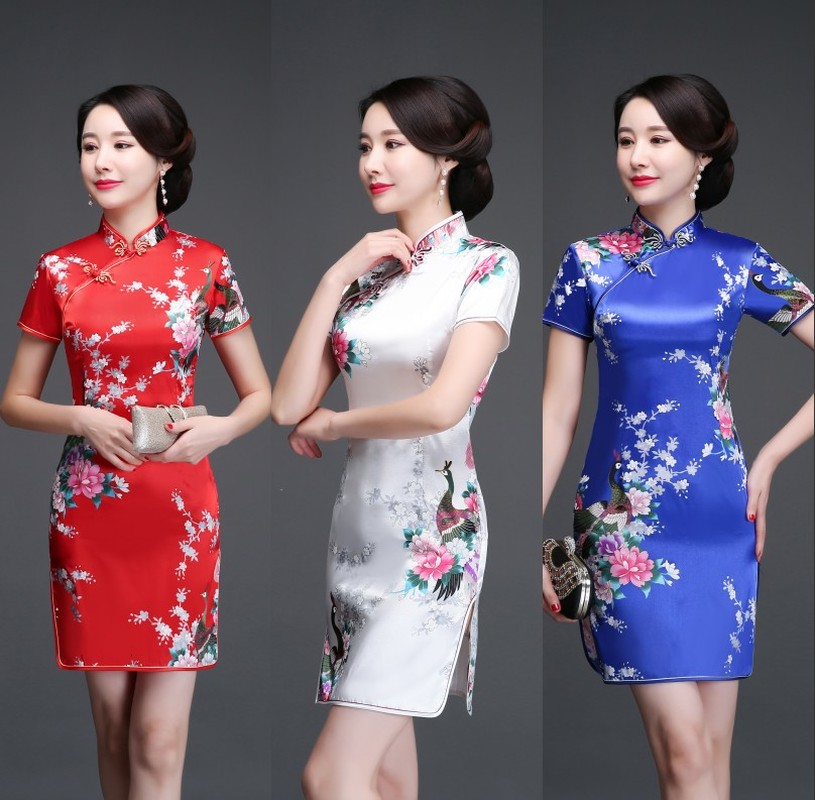 Cheongsam Summer 2019 New Style Women's Chinese-style Demure Fashion GIRL'S Short Mid-length Glorious Silk Dress