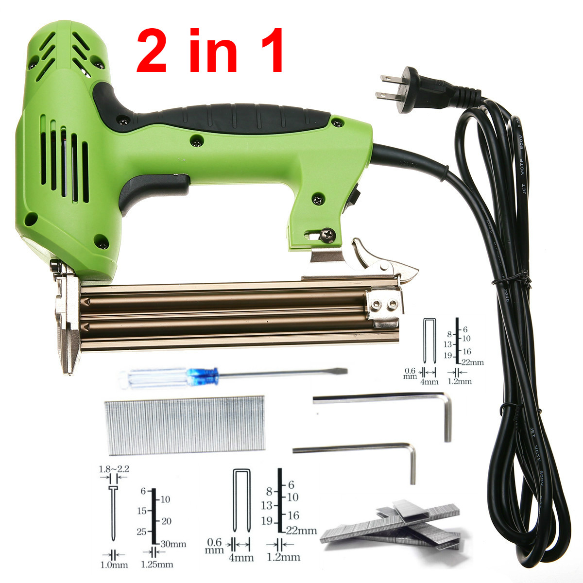 1800W Electric Stapler Gun 2 In 1 Framing Tacker Eletric Nails Staple Gun 220V Electric Power Tools U-Shaped Straight Nail Gun