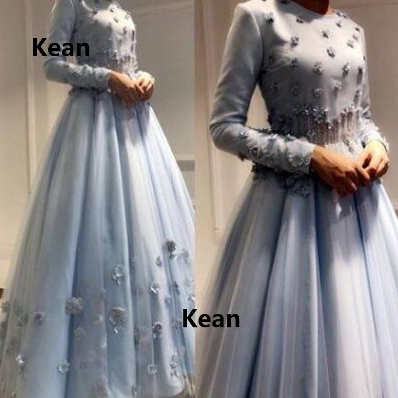 Gray Muslim Evening Dress Full Sleeve 3D Flowers Vestido De Festa Islamic Dubai Kaftan Saudi Arabic Evening Gown Prom Dress