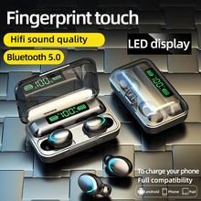 무선 헤드폰 F9 TWS 5.0 터치 컨트롤 LED 디스플레이 소음 감소 마이크가있는 게임용 헤드셋 보조베터리 Bluetooth 이어폰