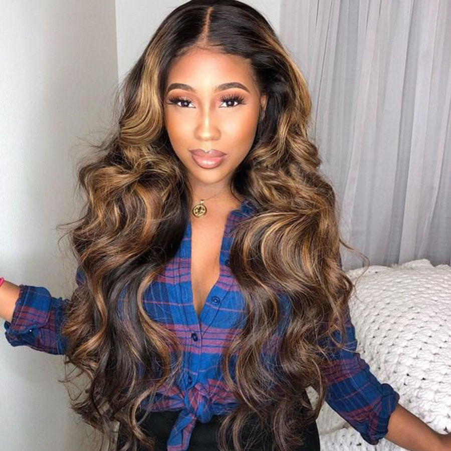 13x6 Lace Front Human Hair Wig Wave Highlight Honey Blonde Brown Deep Part Lace Frontal Remy Wig Plucked BrazilianFor Women
