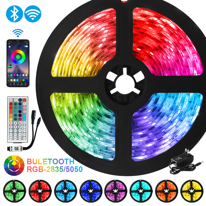 Led-Strip-Lights Diode Luces Wifi-Tape Bedroom Decoration Flexible Ribbon 2835SMD Bluetooth