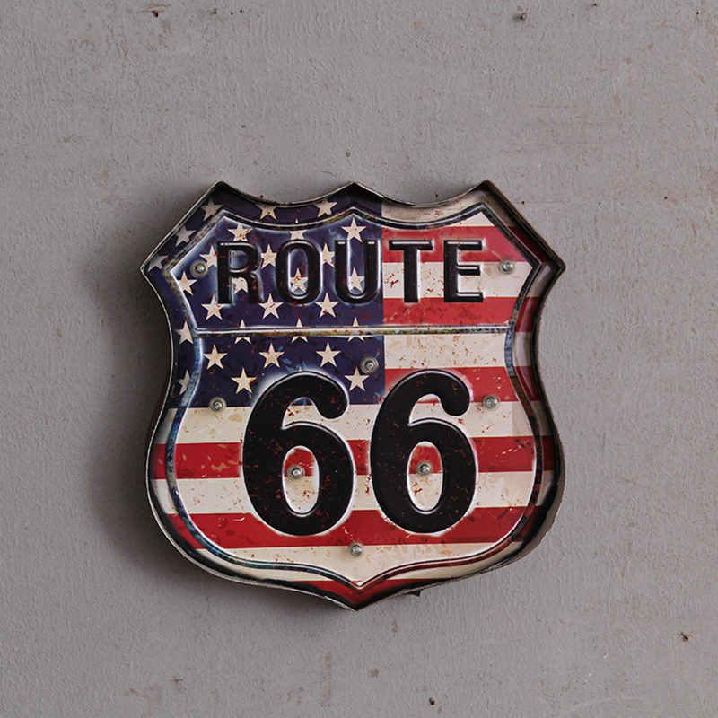 Ruta 66 Led Vintage signos Pub Bar Decoración Led Metal placa neón señal neón luz hogar Decoración Club café colgante de pared arte
