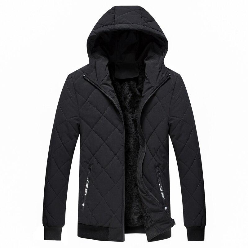 Parka Man Hooded Men's Winter Jacke Solid Warm Men's Jacket Balck Gray Winter Coat For Men Waterproof Parka M-4XL Men Coat