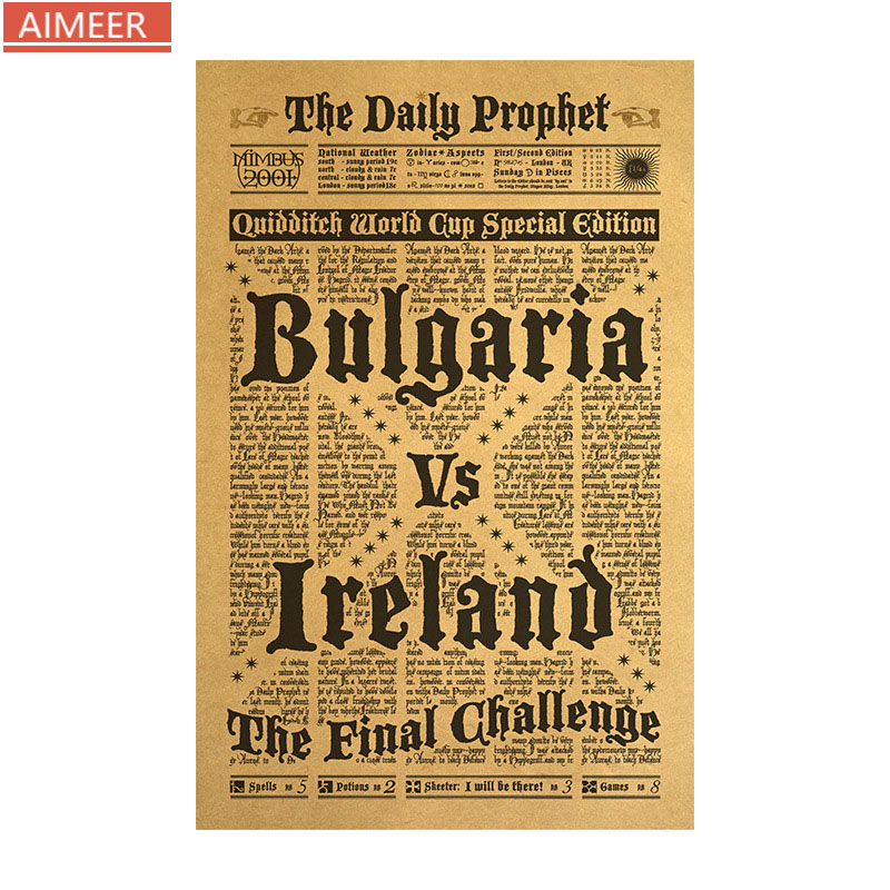 AIMEER Die täglichen prophet worte komplexe bulgarien zeitung retro kraft papier poster klassische film cafe home decor wand aufkleber