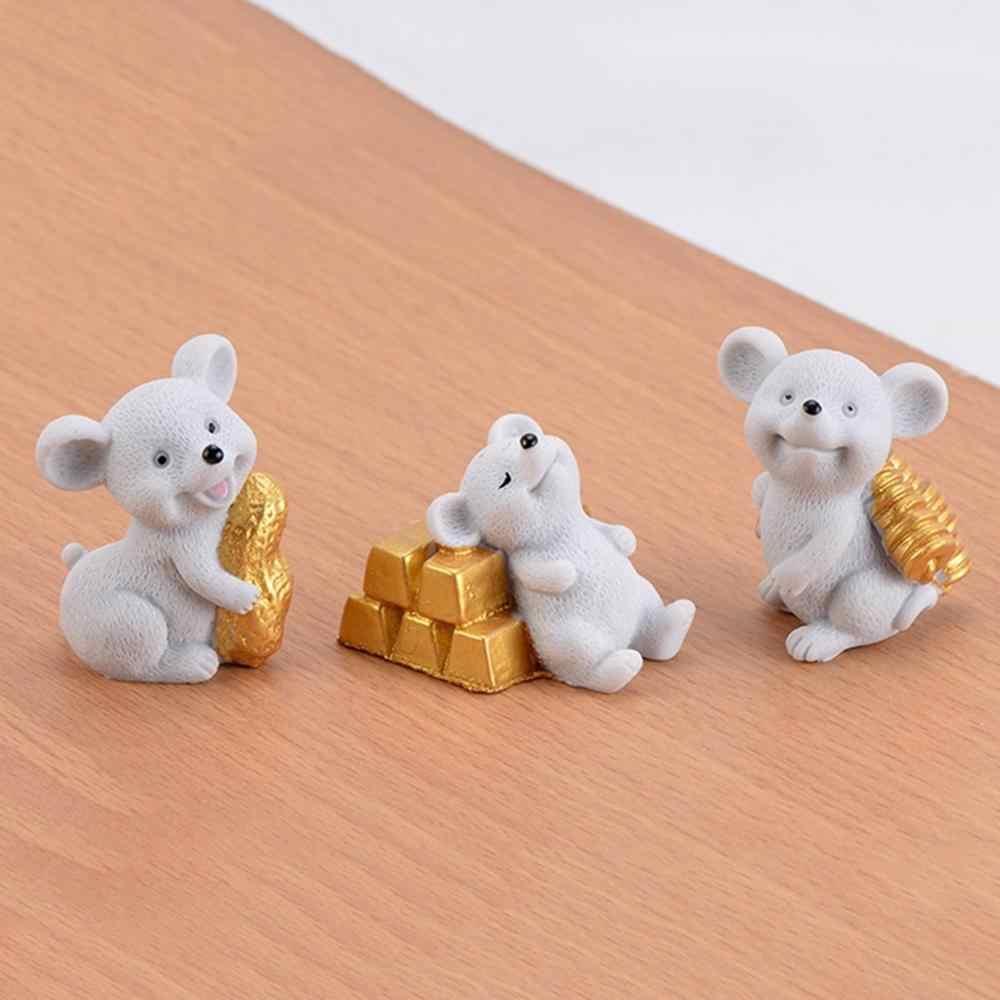 2020 Cinese Nuovo Anno Decorazione Della Mascotte Soldi Del Mouse Lingotti Ornamenti Souvenir Figurine Modello Artigianato Regalo Accessori Da Giardino In Miniatura