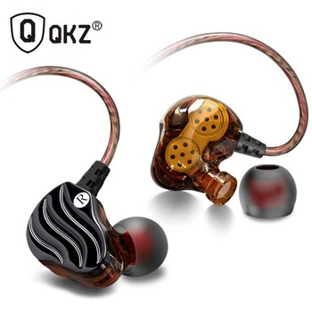 QKZ KD4 unidad doble en la oreja los auriculares con cable auriculares cancelación del ruido auriculares estéreo HiFi auriculares deportes con micrófono