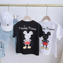 Zomer Familie Bijpassende Outfits Mama Papa Kid Zoon Baby Katoenen T-shirt Shirts Familie Kleding Kind Mickey Minnie Tops CL294(China)