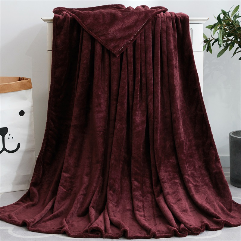 Super Soft Pure Color Coral Fleece Blanket Flannel for Sofa Blankets Yoga Office Car employ Fall Winter Cozy Season Bedding-2