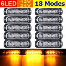 10pcs Car SUV Truck Lamp Amber 6 LED Hazard Warning Flash Strobe Light Caution  Ultra thin, Ultra bright, Surface Mounting