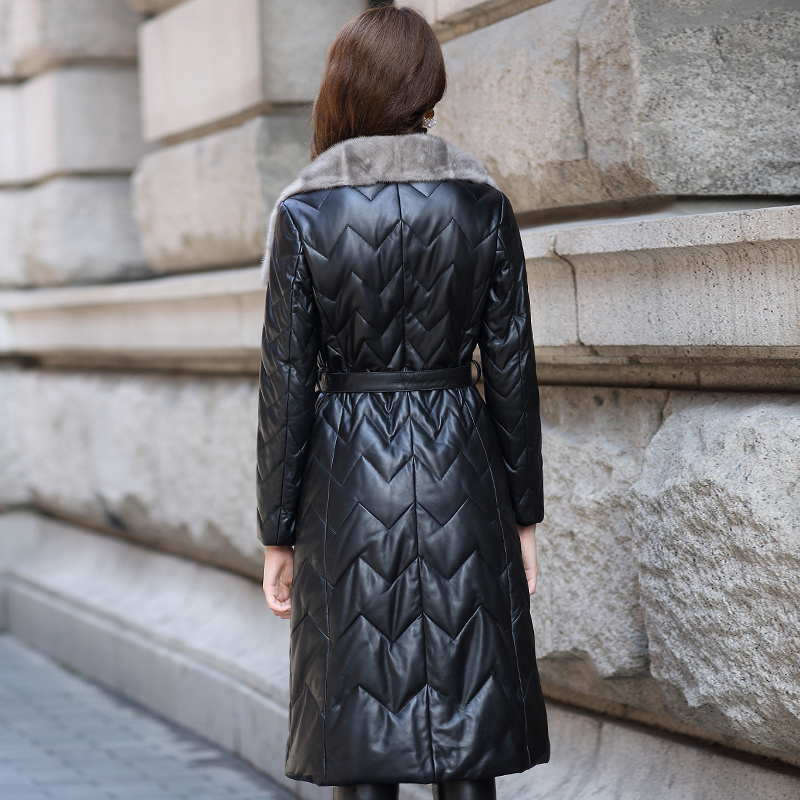 Jacket Leather Genuine Mink Fur Collar Long Down Jackets Winter Jacket Women 100% Real Sheepskin Coat Chaqueta Mujer MY S