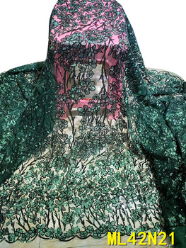 BEAUTIFICAL green french lace fabrics embroidery african lace french fabric tissu for wedding 5 yards/lot ML42N21