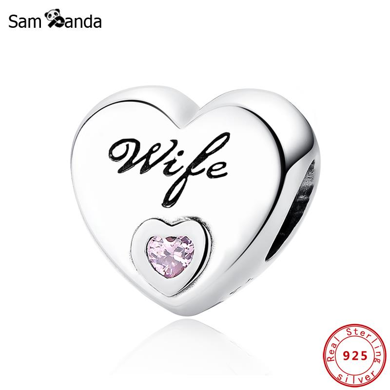New Arrival 925 Sterling Silver Charms Beads Pink CZ Wife Love Heart Charm Fit Original Pandora Bracelets Women DIY Jewelry