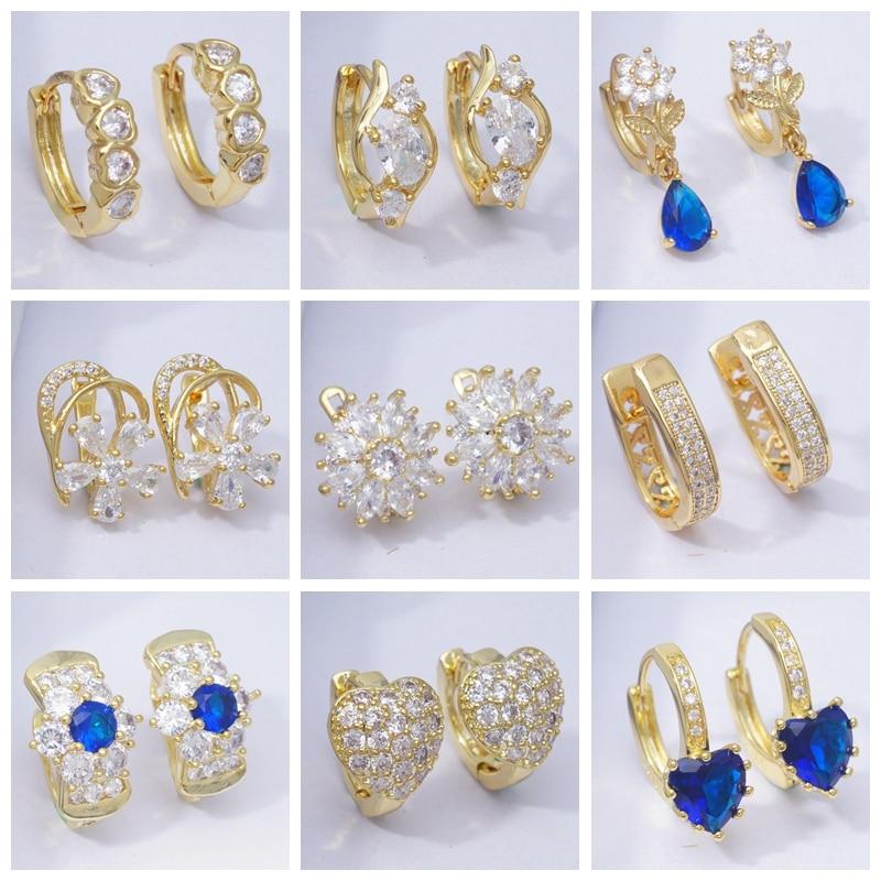 Designer Earrings AAA Cubic Zirconia Gold Hoop Earrings for Women Heart Round Hoops Fashion Jewelry 2019