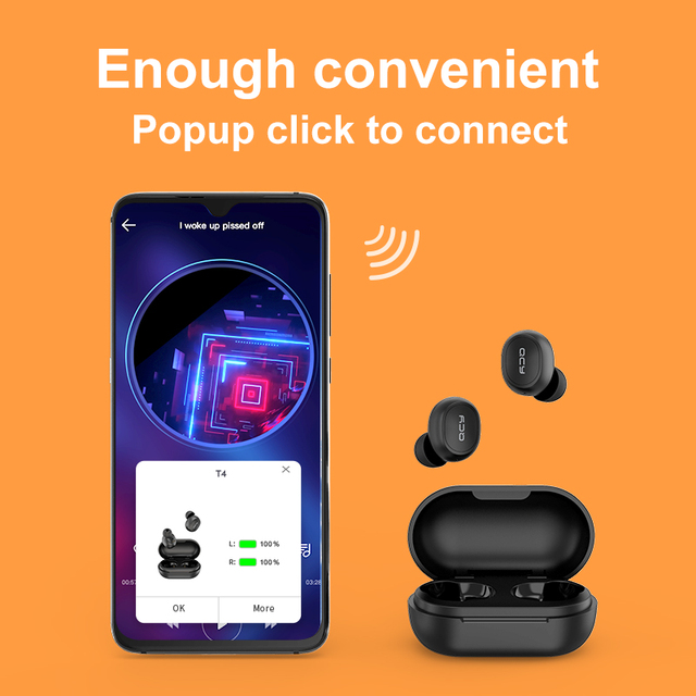 QCY T4 TWS Bluetooth V5.0 Sports Wireless Earphones APP Customization 3D Stereo Headphones Mini in Ear Dual Microphone 4