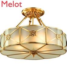 Romantic Warm European All-copper Ceiling Lamp Retro Study Art Restaurant Bedroom Semi-hanging Copper Lamp Gorgeous