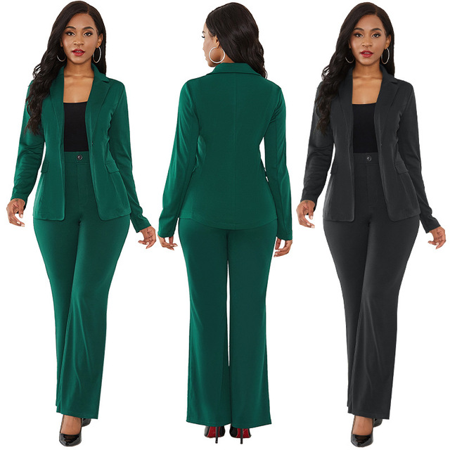 Solid Color Two Piece Set Slim Elegant Office Suit Business Wear 2019 New Autumn and Winter Women's Clothing Sexy Two Piece Suit 3