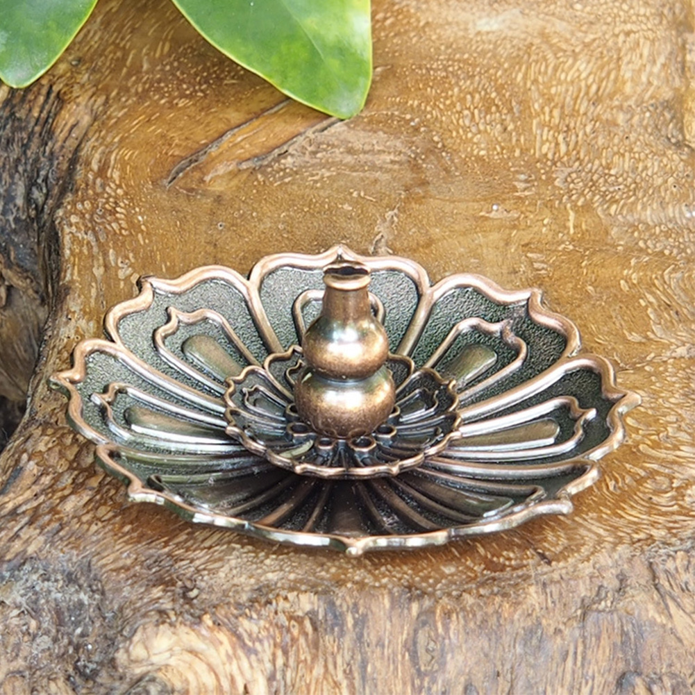Censer Plate Fragrance Accessories Incense Stick Holder Vintage Alloy Exquisite Shape Portable 9 Holes Home Decorations