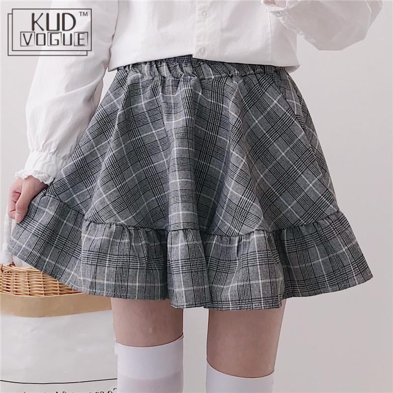 Japanese Spring Autumn Women Lolita Skirt High Waist Plaid Mini Cotton Skirts Saias Cute Kawaii Ruffles Christmas Gift Skirts